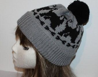 Grey pompom beanie hat with Black Afghan dogs
