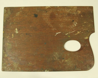 Antique wooden Artist's palette, painter's palette, with old paint and a great patina  250 x 180mm REDUCED