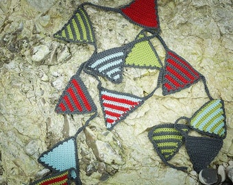 Crocheted cotton bunting