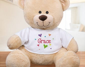 Personalized Lots of hearts Teddy Custom Name Gift