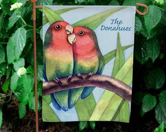 Personalized Love Birds Garden Flag Custom Name Gift