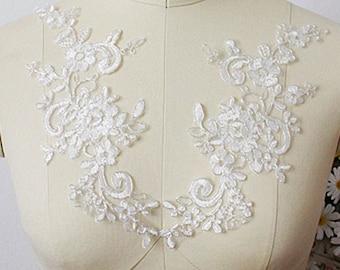 1 pair Lace Applique Trim Appliques  for Weddings, Sashes, Veils, Headpieces, WL036