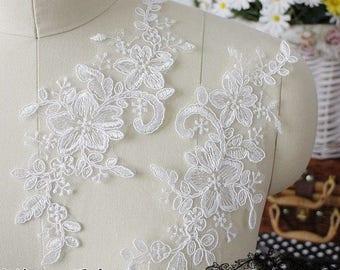 1 pair Lace Applique Trim Appliques  for Weddings, Sashes, Veils, Headpieces, WL040