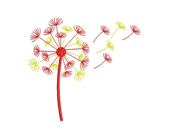 Dandelion Embroidery Design. Dandelion  Machine Embroidery. Pattern embroidery. Decoration Flower. Flower Embroidery Design.