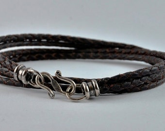 Women's Braided Kangaroo Leather wrap. 7.5 inches