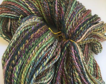 Hand spun 2 ply Merino yarn - Rainbow colors