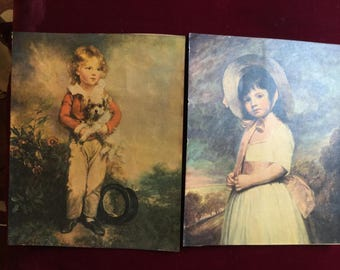 Pair of Vintage prints : Miss willoughby and Master Simpson, children prints