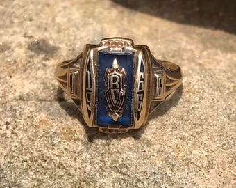 Vintage 10K Gold Class Ring - 1966, Initials JG, Size 4 1/2