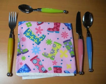 The pink boots, child table napkin, washable cotton