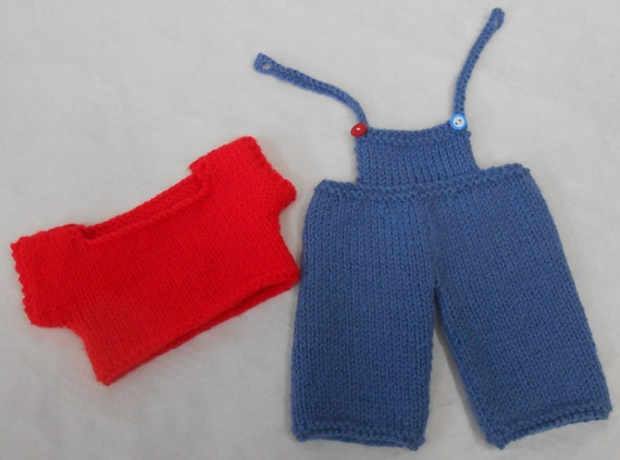 Knitting Pattern For Teddy Bear Trousers : Knit Boy Teddy Bear Clothes PDF Knitting Pattern for Dungarees trousers and T...