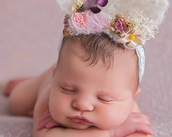 Bunny ears Tie Back. new born prop, Baby Girl Bunny ears