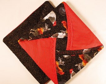 Quilted Pot Holders - Roosters / Black