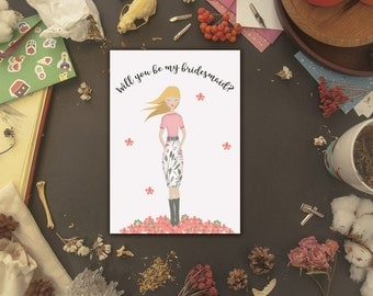 Will you be my Bridesmaid? Blonde woman PRINTABLE