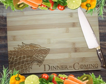 Dinner Is Coming! - Game of Thrones Personalised Engraved Bamboo Chopping Board
