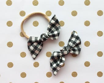 "Black and White Check ""Bailee"" Hair Bow"