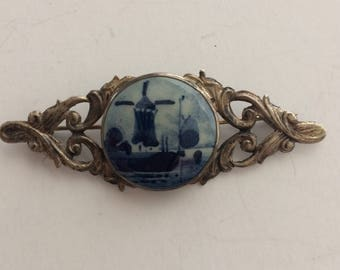 Sterling and Delft Blue pin