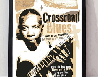 Crossroad blues robert johnson unframed poster. Specially created.