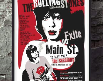 The Rolling Stones Exile on main street music poster. Wall decor art print. Unframed