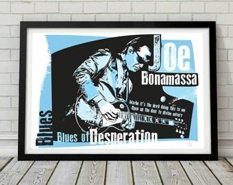 Joe bonamassa blues music poster. Wall decor art print. Unframed