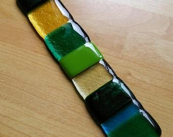 Lovely Fused glass suncatcher, blues, greens, yellows. Outside garden art, home decor, window handmade glass hanger.