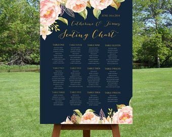 Navy Blue Seating Chart,  Reception Seating Plan with Pink Peonies and Roses,  Watercolor Floral Guest Seating Chart