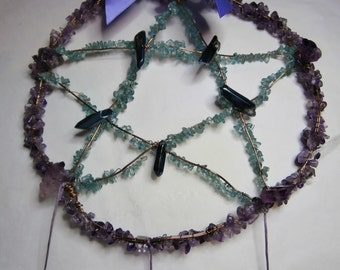 Pentacle Dream Catcher- Amethyst and Fluorite