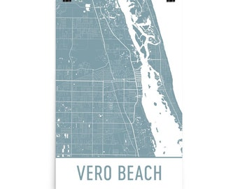 Vero Beach Map, Vero Beach Art, Vero Beach Print, Vero Beach FL Poster, Vero Beach Wall Art, Map of Vero Beach, Vero Beach Gift, Art Print