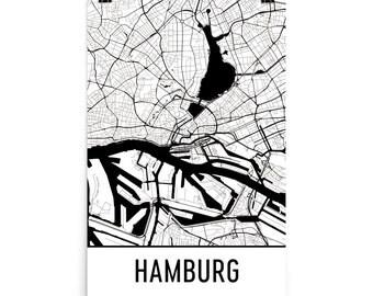 Hamburg Map, Hamburg Art, Hamburg Print, Hamburg Germany Poster, Hamburg Wall Art, Map of Hamburg, Hamburg Poster, Hamburg Gift, Art Print