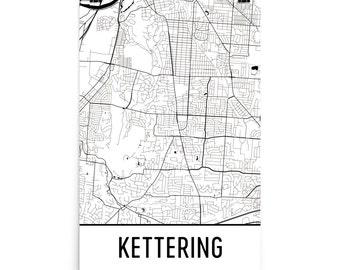 Kettering Map, Kettering Art, Kettering Print, Kettering OH Poster, Kettering Wall Art, Map of Kettering, Kettering Gift, Kettering Decor