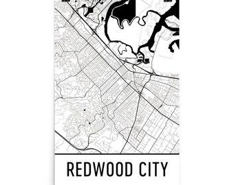 Redwood City Map, Redwood City Art, Redwood City Print, Redwood City CA Poster, Yuma Wall Art, Map of Redwood City, Redwood City Gift, Decor