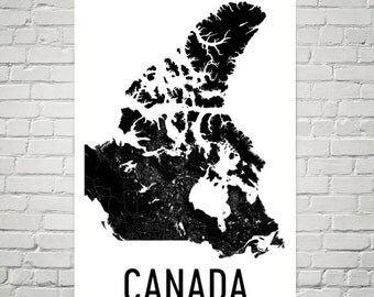 Canada Map, Map of Canada, Canada Print, Canada Wall Art, Canada Poster, Canada Decor, Canada Art, Canadian Gifts, Canada Map Art Print