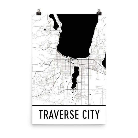 Traverse city map traverse city art traverse city print for Craft shows in traverse city mi