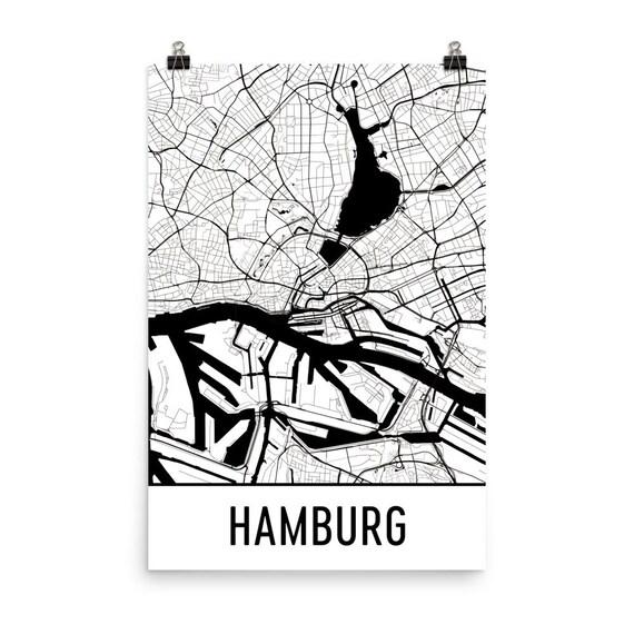 hamburg map hamburg art hamburg print hamburg germany. Black Bedroom Furniture Sets. Home Design Ideas