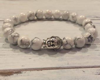 Men's Howlite Bracelet, Buddha Healing Bracelet, Wrist Mala, Yoga Bracelet, Calming, Meditation, Release Anger, Masculine Bracelet, For Him