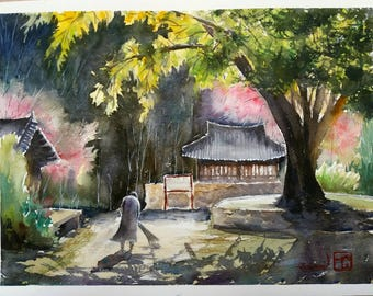 Sunny spring day at a temple. Original watercolour on paper.