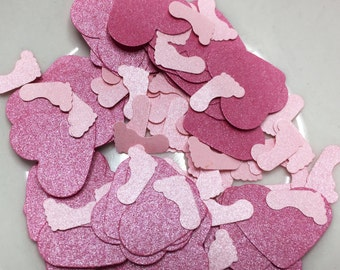 Hot Pink Metallic Hearts and Light Pink Footprints. Baby Shower Confetti. Baby Shower Table Decorations. It's a Girl.