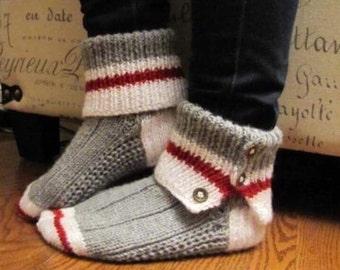 Bas de laine pantoufles faits a la main produits du Québec en laine