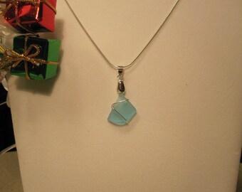 Aqua Blue Sea Glass Necklace