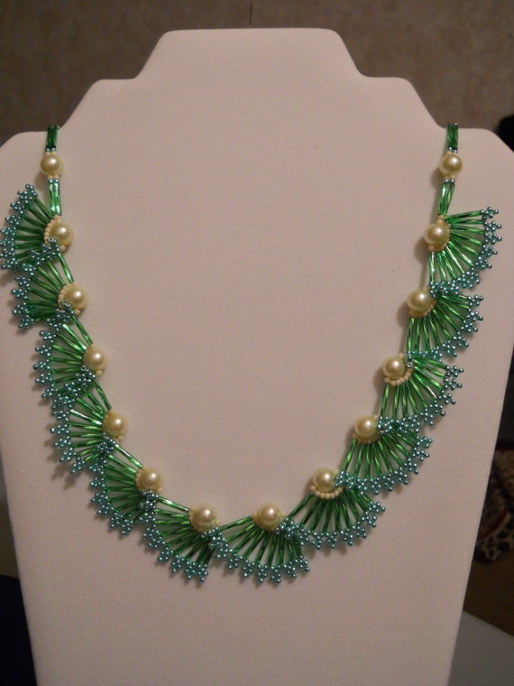 Pearl and Bugle Bead Necklace w/ Gold Plated Clasp