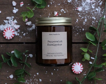 All Natural, Soy Wax, Eco Friendly, Luxury, Peppermint Eucalyptus Scented Candle // Hand Poured and Handmade in California