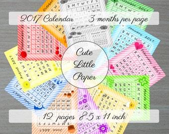 2017 Printable Calendar - 3 Months per Page - Sunday Start