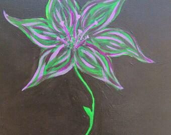 Flower on Black (Green, Pink) / Original Art / Wall Art / Acrylic Painting / 8x10