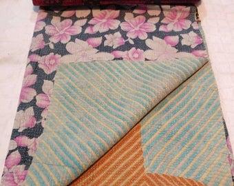 Reversible Kantha Quilt: Vintage boho quilt, Reversible sofa throw, Sari cotton quilt