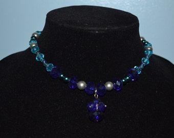 Blue Beaded Choker Necklace