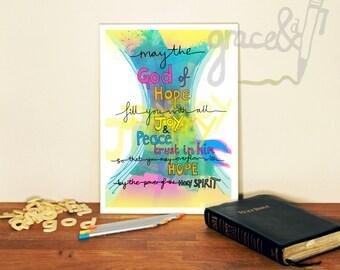 Bible verse A4 print. Romans 15:13