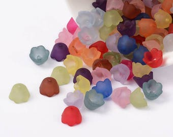 50 pc Mixed Color Frosted Buttercup Flower Acrylic Beads 10x6mm