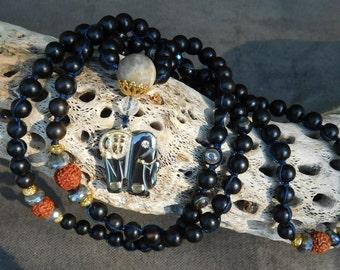 108 Bead Mala Necklace, Yoga Jewelry, Black Ebony Wood Mala, Meditation/Prayer Mala Necklace, Guru Bead, Buddha, Rudraksha,