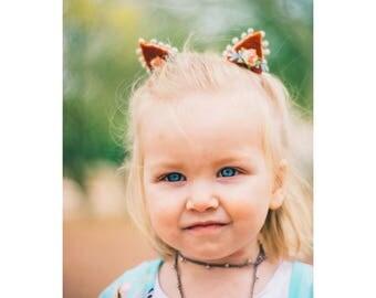 Mini Fox Ears - Cat Ears Headband - Dress Up For Girls - Cat Headband - Cat Ear Clips - Halloween Costumes - Boho Baby - Kitty Ears