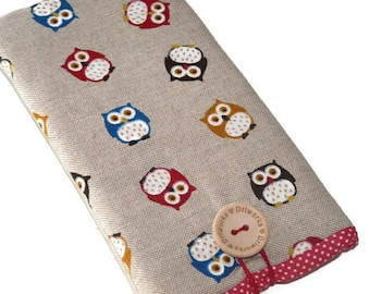 Owls, iPhone 7 case, iPhone 7 Pouch , iPhone SE sleeve , iPhone 6 Case, iPhone 5 case, iPod Touch case, fabric phone case, gift for her