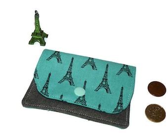 Business Card wallet, Credit Card Holder, Credit card case, Headphone Holder, coin purse, Minimalist Wallet Eiffel Tower